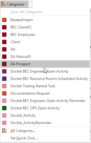 Outlook Colors for Workgroup Organization - BEC Legal Systems