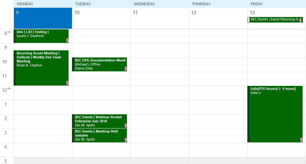 Docket category colors on personal calendar