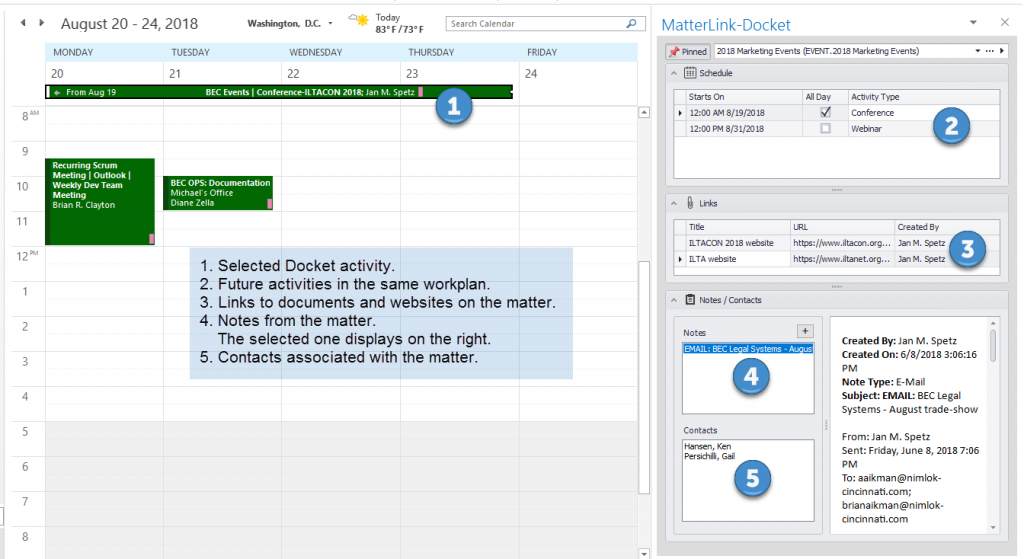 MatterLink-Docket Enterprise Pane in Outlook