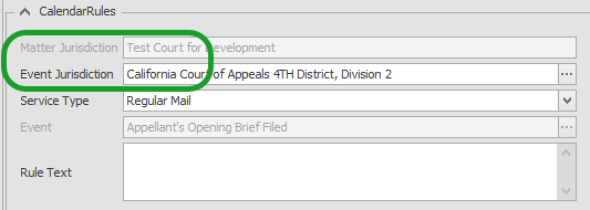 Schedule Editor Jurisdiction Fields