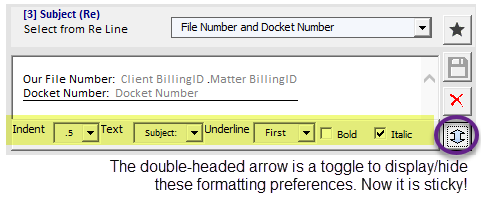 Subject line formatting preferences.