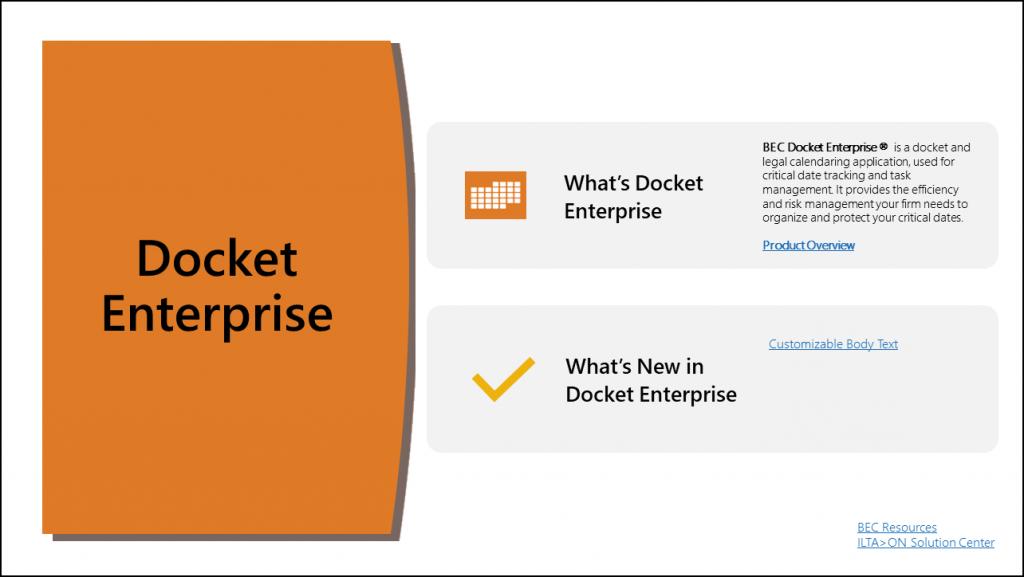 Docket Enterprise Legal Calendaring