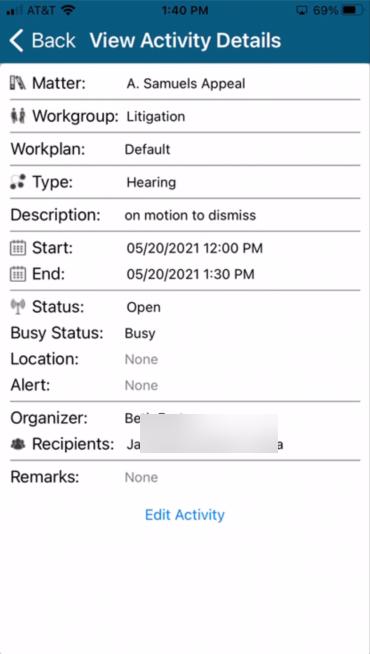 Docket Mobile Activity Details