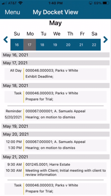 Docket Mobile My Schedule