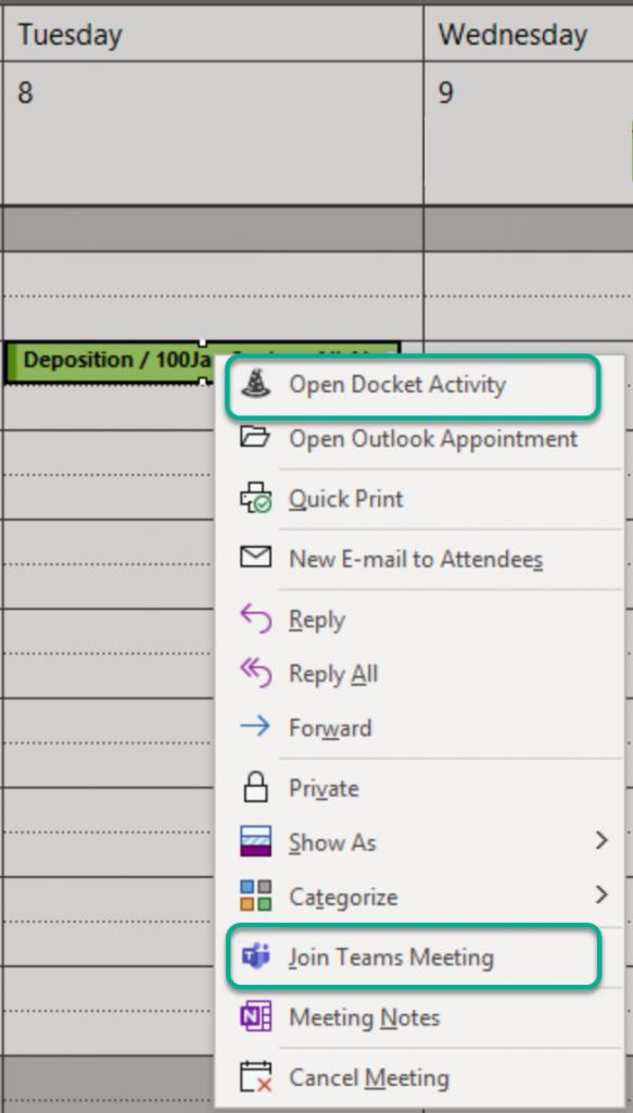 Outlook calendar right click