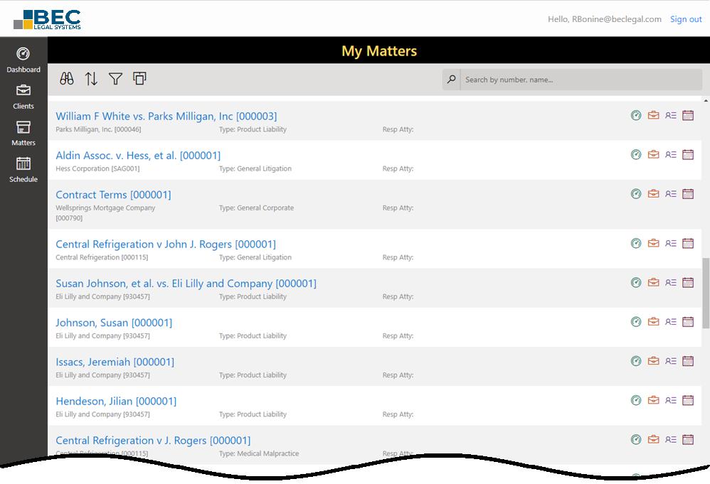 MatterLink Web matter list