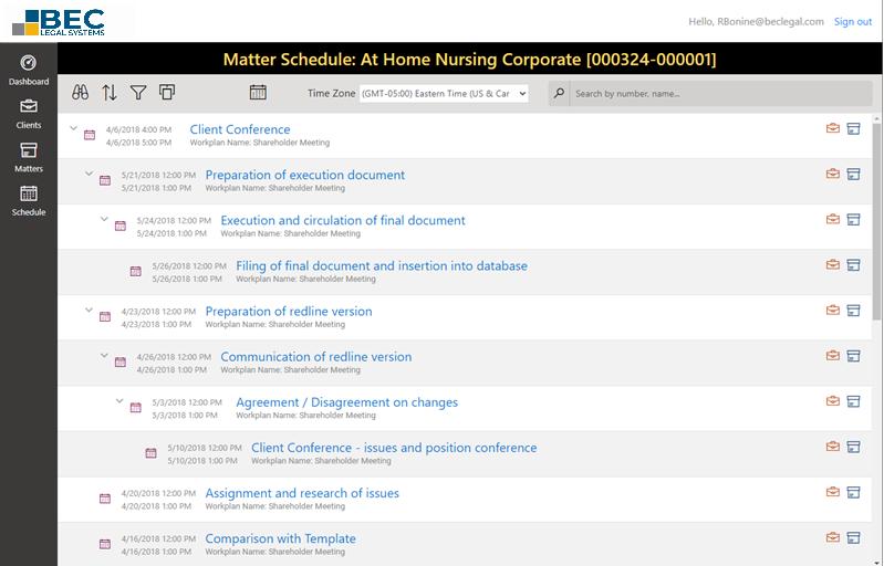 MatterLink Web matter schedule outline view